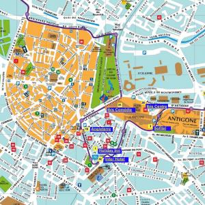 Tourist map of Montpellier showing the pedestrian area